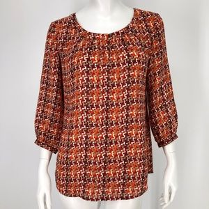 ⚡️Banana Republic XS Red Orange Print Shirt Autumn